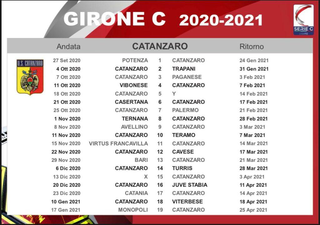 Serie C, varati calendari. Si parte con Potenza Catanzaro